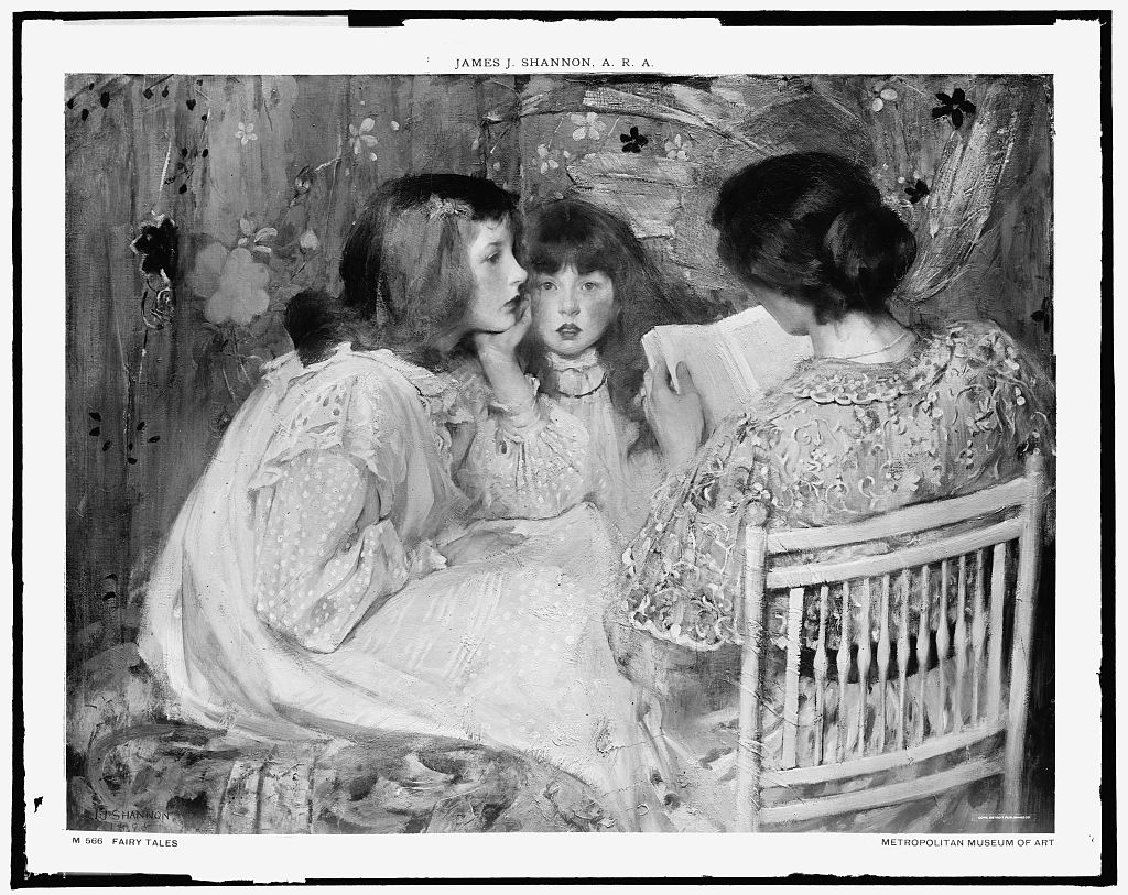 Black and white painting displays two girl listening while a woman read a book.