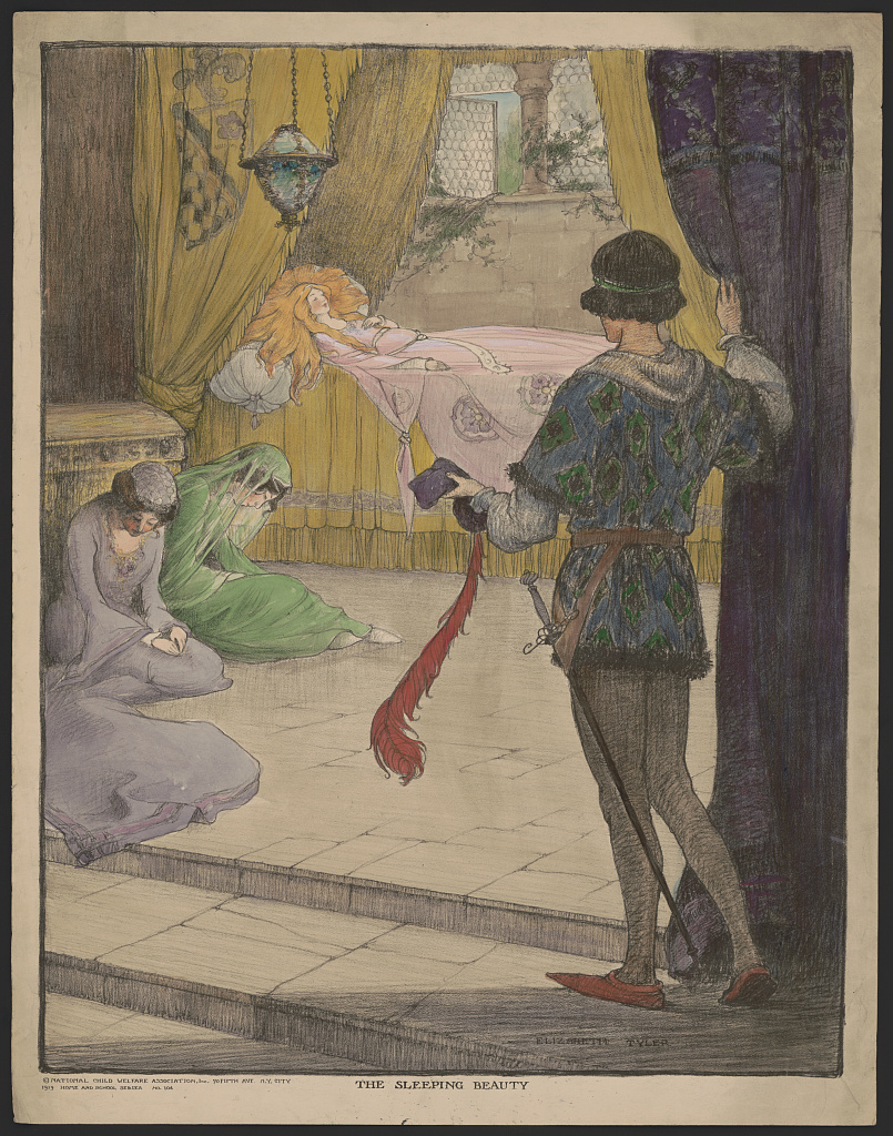 Sleeping beauty dress on a pink dress with two maidens seated on the floor, one dressed in green and the other dressed on gray. Print : lithograph, hand-colored