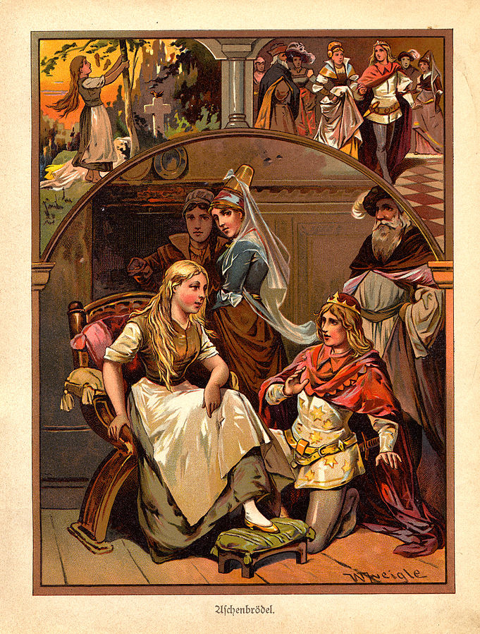 Color illustration of CInderella taken from a book of German fairy tales called Märchenbuch c1919.