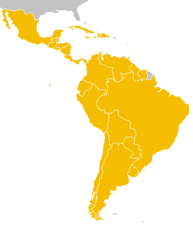 Image of a map showing countries in Latin America