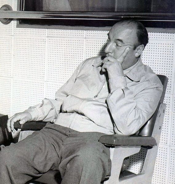 Black and white photograph of Pable Neruda