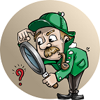 Cartoon inspector with green jacket and hat holding a magnifying glass as it looks at a red question mark