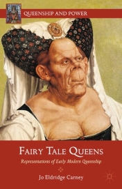 Cover of the book: shows an illustration of a queen-like figure with a masculine face