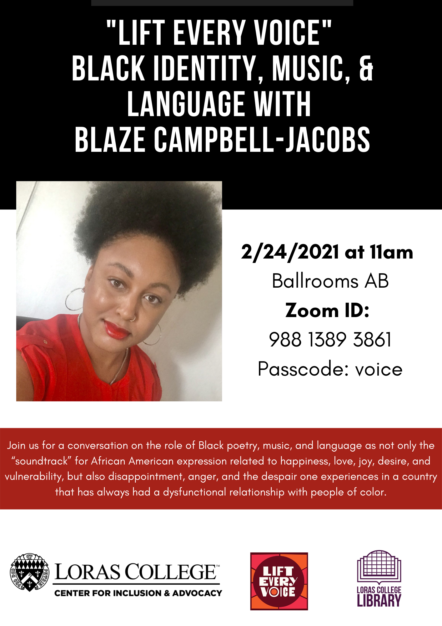 flyer for Blaze Campbell Jacobs Lift Every voice presentation