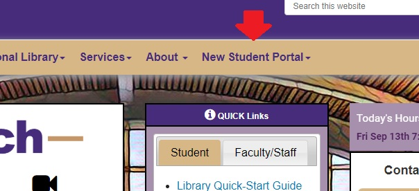 images of new student portal on web page