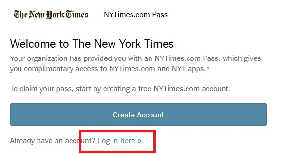 new york times login