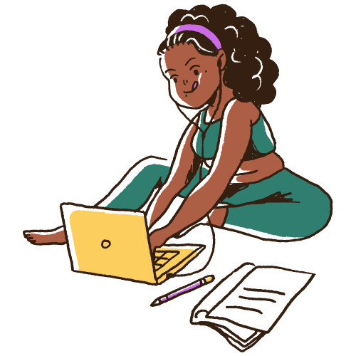 stylish young Black woman wearing earbuds and working on laptop