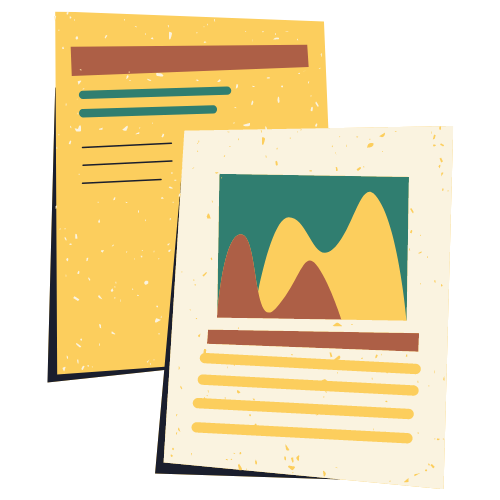 Two digitally drawn reports stacked on top of each other.