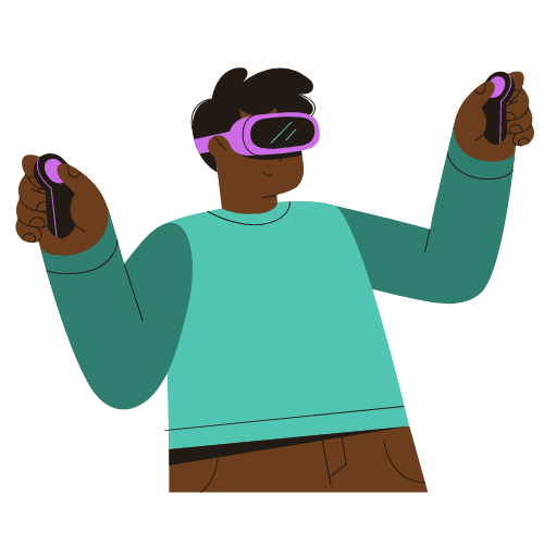 Young Black man using Virtual Reality system