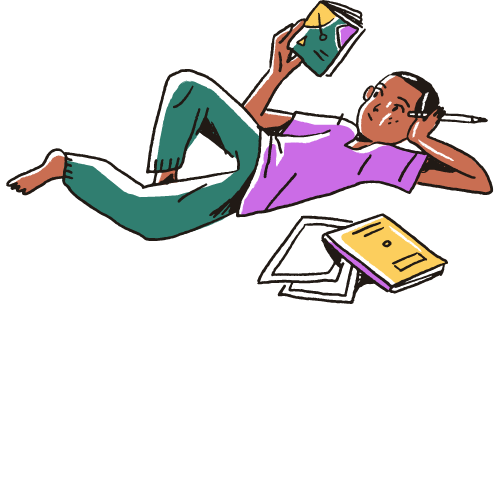 Person of Color in green pants and pink shirt reading books while laying on their back.