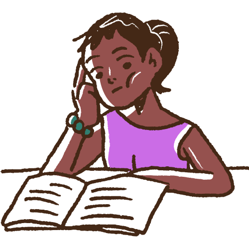 Young woman of color reading a book while leaning her head on her hand