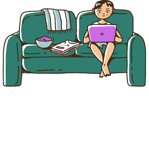 Dark-haired cartoon person sitting on a teal couch with snacks while studying from a laptop.