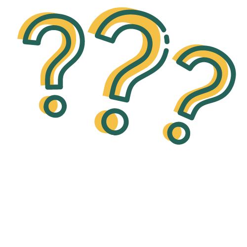 three drawn question marks