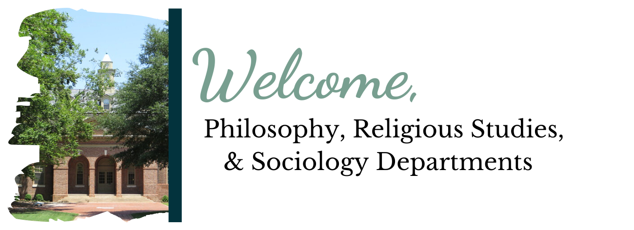 "Photo of Wren Buidling with words saying ""Welcome, Philosophy, Religious Studies, and Sociology Deparments"