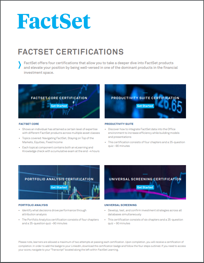 FactSet certification