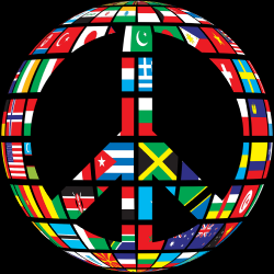 image of peace sign made of national flags