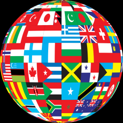image of sphere made of national flags