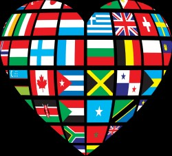image of heart made out of national flags