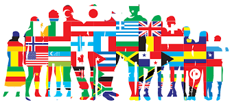 silhouette of people made up of national flags
