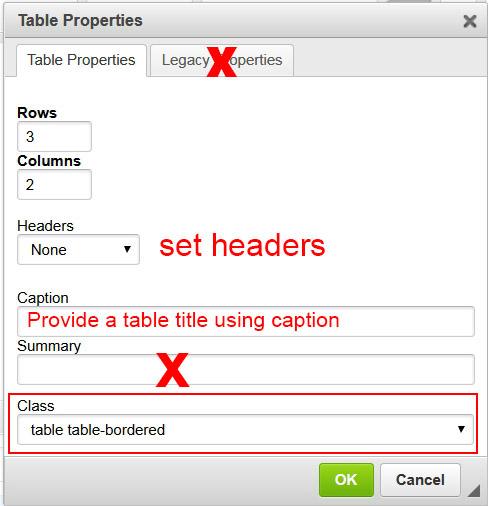 Table edit screen