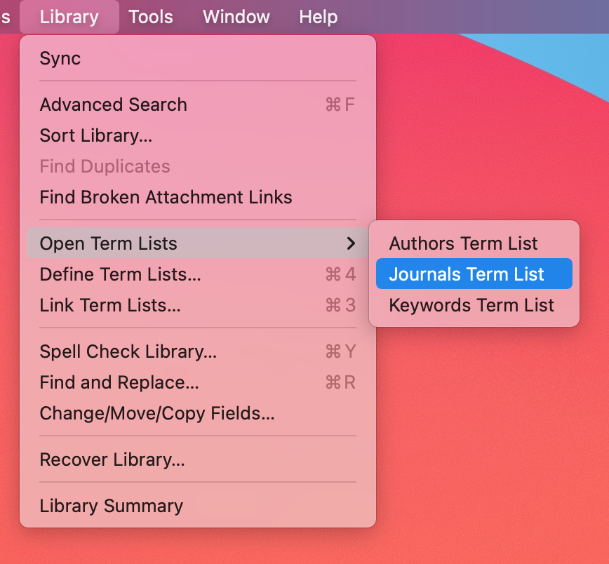 Journal Terms List