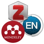 Zotero, Endnote, Mendeley logos