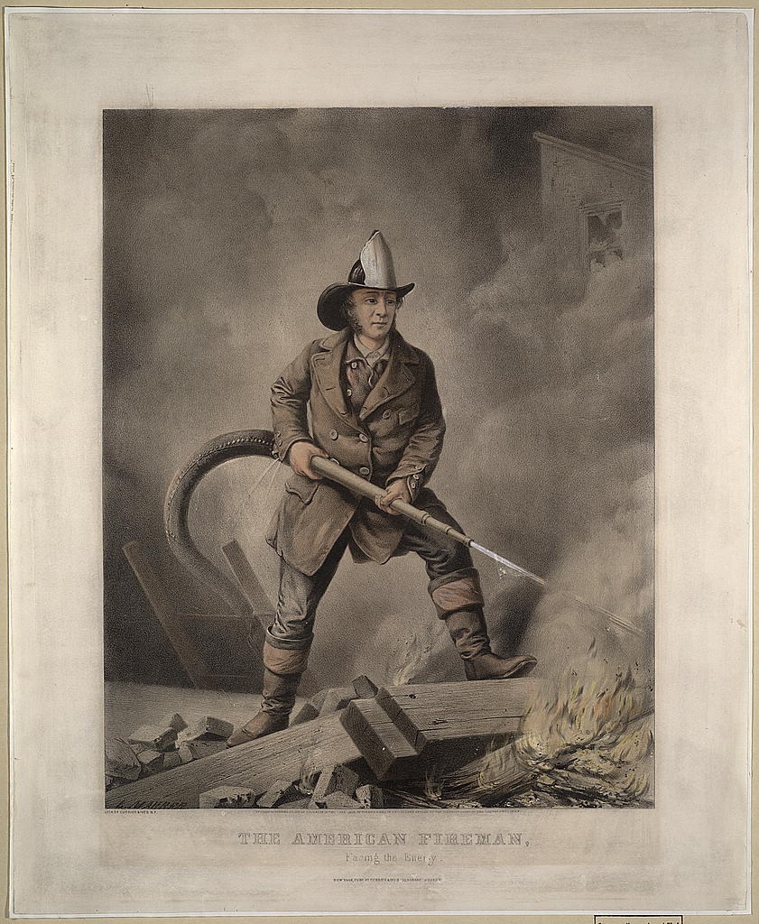 1858 American Fireman print by Currier & Ives.