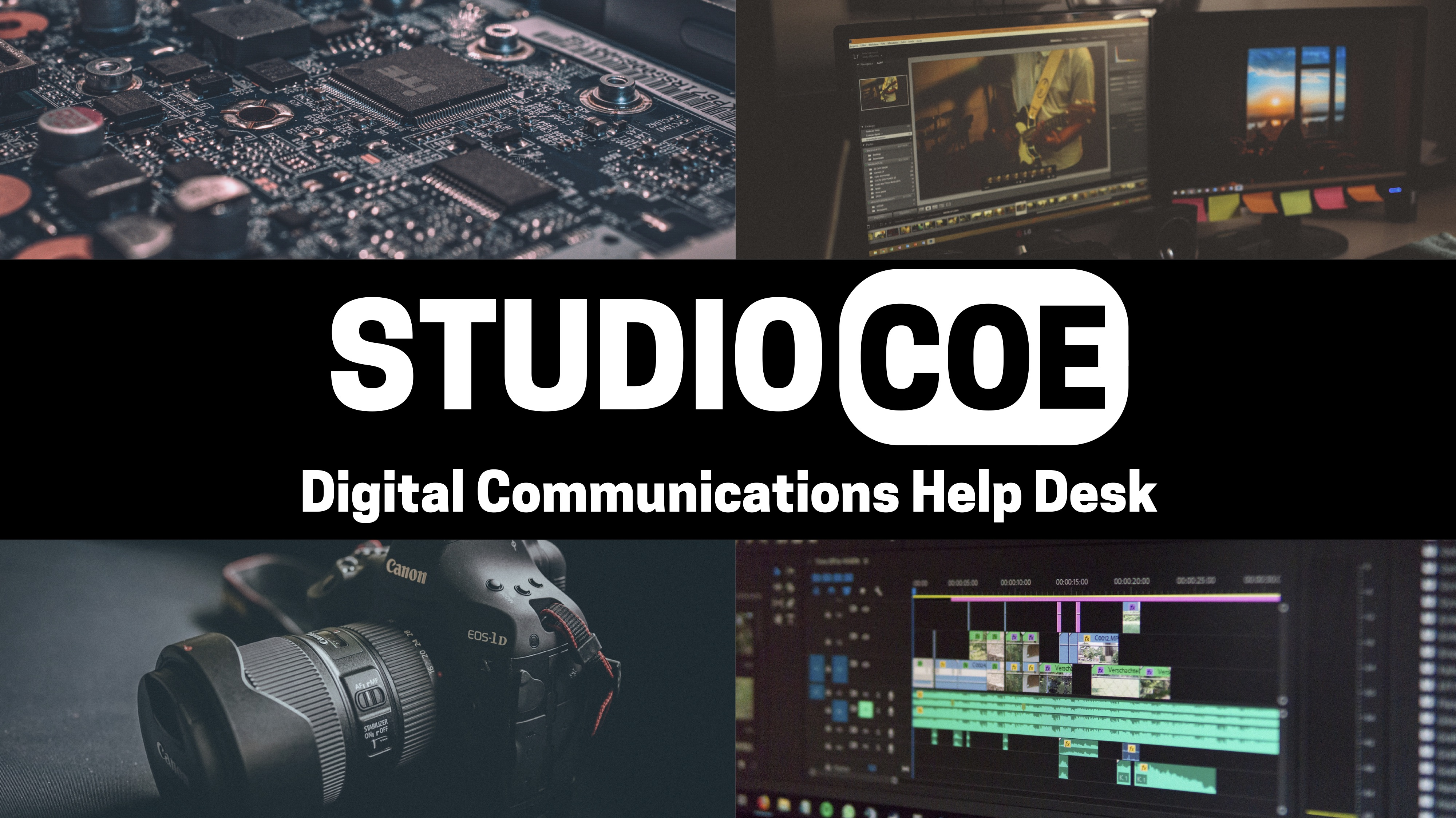 Studio Coe, Digital Communications Help Desk. Featuring image of camera, computer screen, and hard drive.