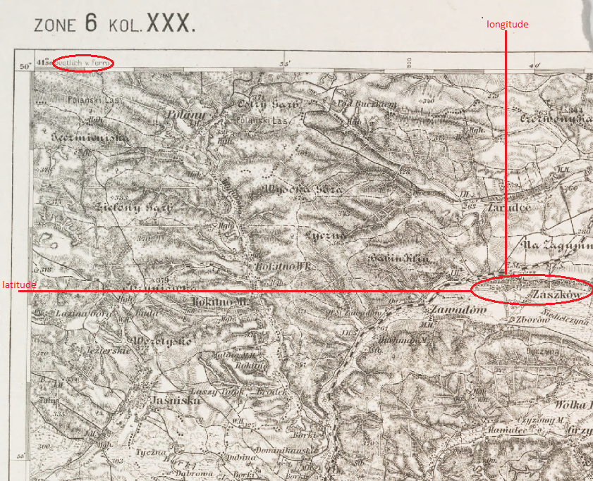 From a map series covering Austria-Hungary in the early 20th century, this image is part of the map covering the area northwest of Lemberg (Lwow/Lvov/L'viv). There are marginal demarcations of latitude and of longitude measured from the Prime Meridian of Ferro. Added red lines show plotting of latitude and longitude on the map to determine the location of Zaszkow.