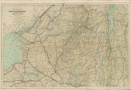 Map showing railroad lines in the Adirondacks in 1895