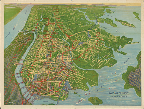 Colorful bird's-eye view of the Bronx from the south