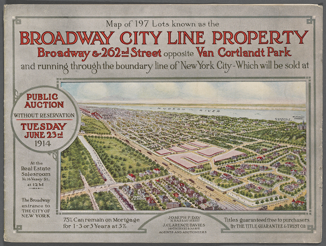 Cover image from a Bronx land auction catalog with bird's-eye view illustration looking southwest from city line near Van Cortlandt Park