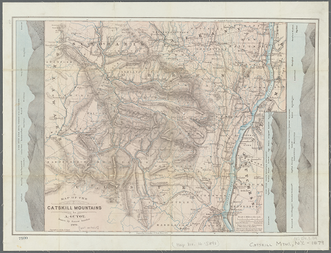 Map of the Catskill Mountains in 1879, showing mountain profiles in the margins