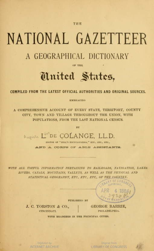 Image of title page of The National Gazetter, by L. de Colange, a United States gazetteer, 1884