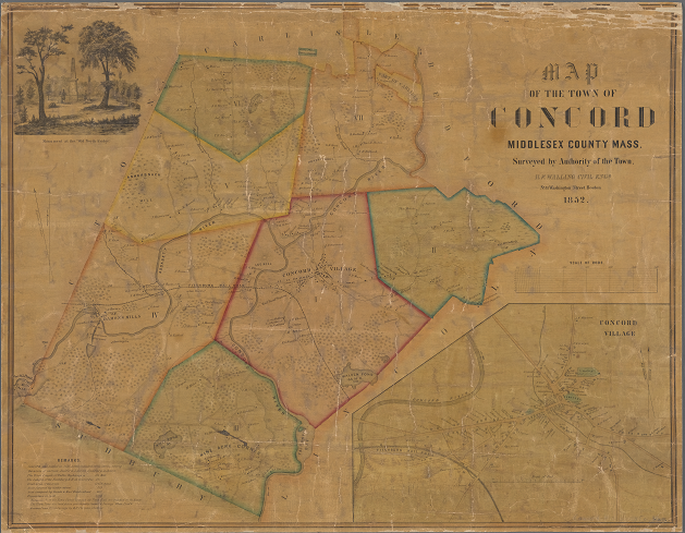 NYPL Digital Collections color image of a map of Concord, Massachusetts, 1852, which shows locations of houses with names of owners or residents