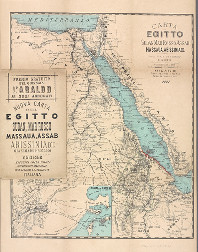 Color image of map of northeastern Africa from 1887, showing the Nile Valley and the Red Sea