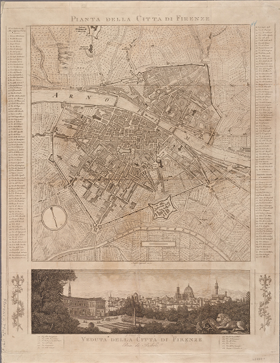 NYPL Digital Collections image of a map and view of Florence, Italy, thought to be from the early 19th century