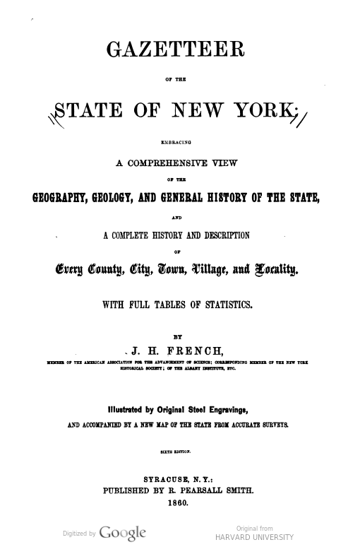 Image of title page of J.H. French's Gazetteer of the State of New York, 1860