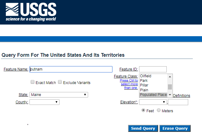 Example of a query in the GNIS database, with a search for a place called Putnam in Maine.