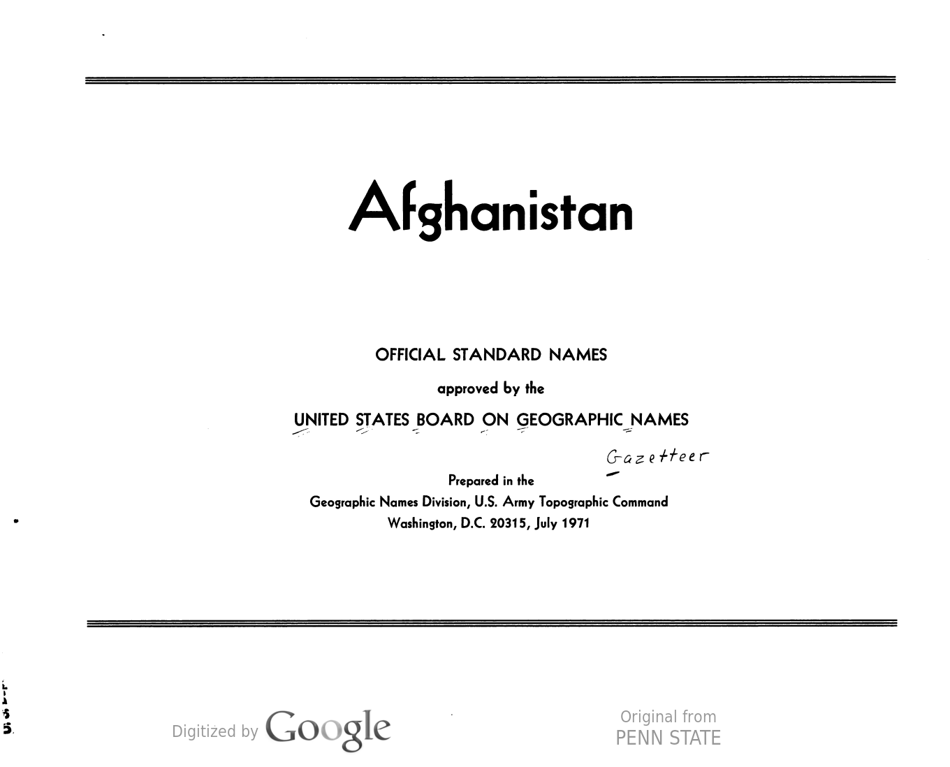 Image of a title page for a U.S. government gazetteer of Afghanistan.