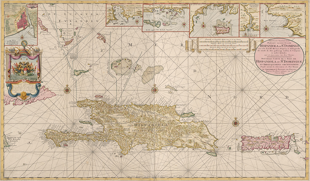 Color image of maps of Hispaniola and surrounding islands in 1720 from NYPL's Digital Collections
