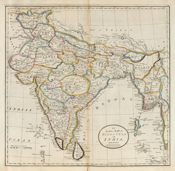 NYPL Digital Collections color image of a map of India from an 1814 atlas