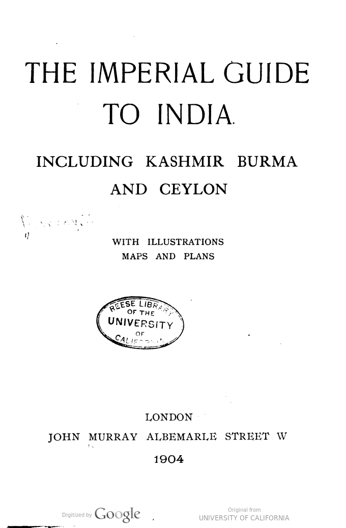 Image of title page of a guidebook of India from 1904 titled The Imperial Guide to India.