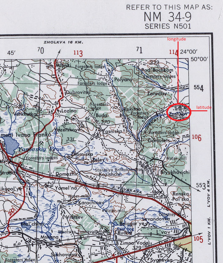 From a series of maps covering Eastern Europe in the 1950s, this image is a section of the map covering the area west of Lvov (Lwow/L'viv/Lemberg) in Ukraine. It shows marginal demarcations of latitude and longitude, with longitude measured from the Prime Meridian of Greenwich, England. Added red lines show plotting of latitude and longitude to determine location of Zashkov on the map.