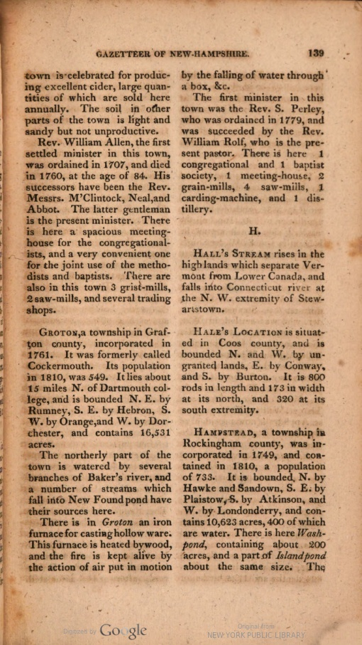 A page from the Gazetteer of the State of New-Hampshire, showing alphabetical arrangement and narrative descriptions in short paragraphs for a few place names beginning with letters G and H