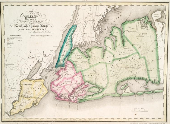 Color map of New York City and surrounding counties in 1829
