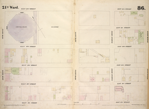 Fire insurance map of a section of Midtown Manhattan in 1854, showing the reservoir and Crystal Palace on the block where NYPL is now located