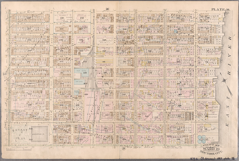 Fire insurance map of a part of Midtown Manhattan in 1885, showing Bryant Park and the reservoir on the block where NYPL is now located
