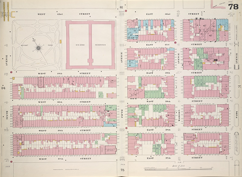 Sanborn fire insurance map of part of Midtown Manhattan in 1899, showing  the block covering Bryant Park and the