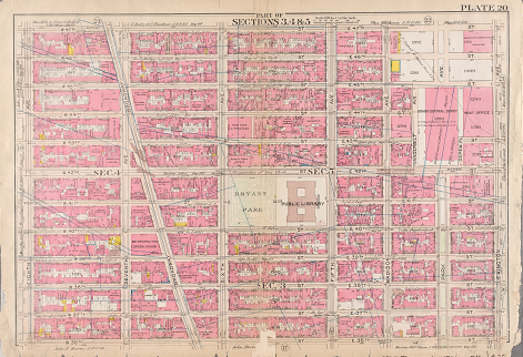 Fire insurance map of part of Midtown Manhattan in 1911, showing the block covering NYPL in the year that the building opened to the public